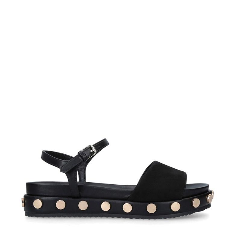 Womens KG Kurt Geiger Black 'Ripple' Flat Studded Sandals, Women's