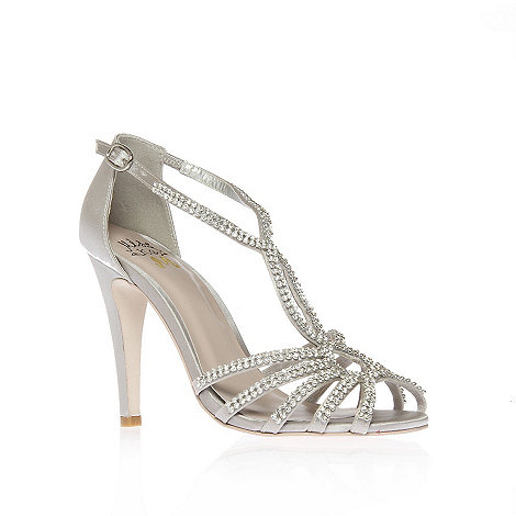 Miss KG - Silver +Pippa+ high heel peep toe shoes