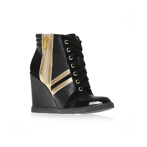 Jessica Simpson - Gold +Lexia+ high wedge heel lace up trainer
