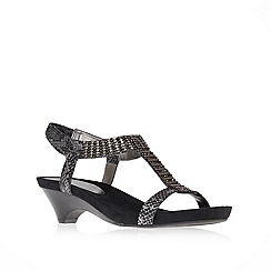 Anne Klein - Black 'teale3' mid heel gladiator sandals