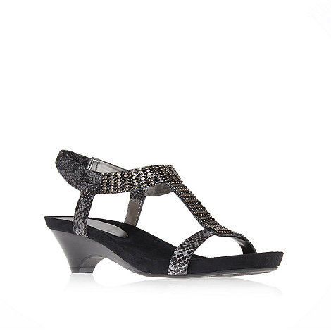 Anne Klein - Black +teale3+ mid heel gladiator sandals
