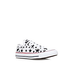 Converse - White/black 'CT stars low' flat printed lace up low top trainer
