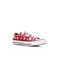 Converse - Red 'CT stars low' flat patterned lace ups