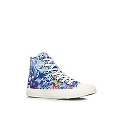 Converse - Blue 'CT floral hi' flat lace up hi tops trainers