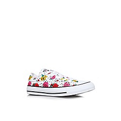 Converse - White 'CT floral low' flat printed lace up low top trainer