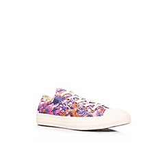 Converse - Pink 'CT floral low' flat printed lace up low top trainer