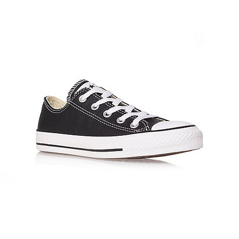 Converse - Black +Ct Leather Low+ flat lace up sneaker