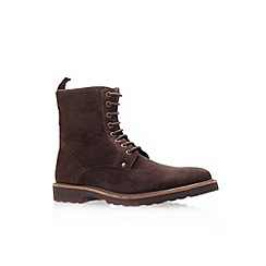 KG Kurt Geiger - Brown 'Dench' flat leather lace-up boots