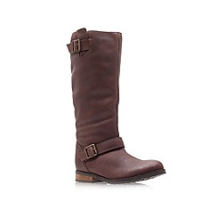 Miss KG - Brown 'brandy' low heel knee high boots