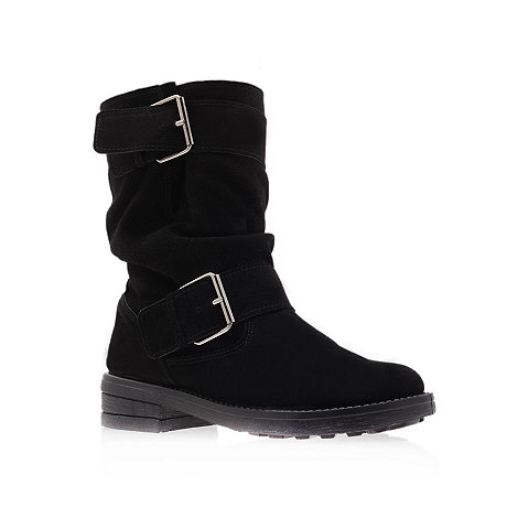 Miss KG - Miss KG Heston suede flat black boots with buckle detailing