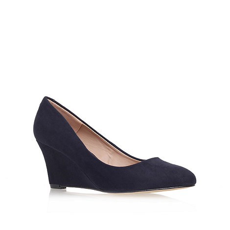 Carvela - Navy +krissy+ mid heel wedge court shoes