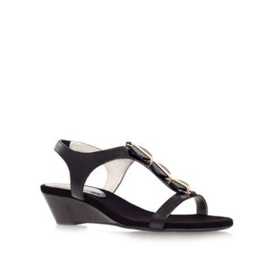 Anne Klein Black ´dustee´ low heel wedge sandals - . -