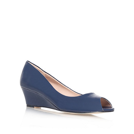 Carvela - Navy +Kim+ mid heel wedge court shoes