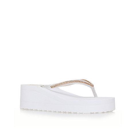Miss KG - White +Darcy+ platform flip flops