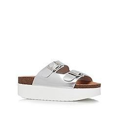 KG Kurt Geiger - Silver 'Nola' low heel platform sandals