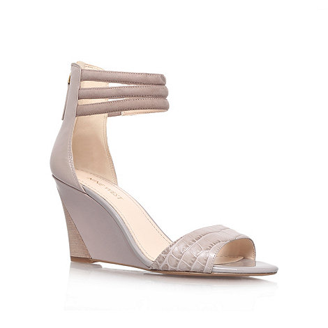 Nine West - Grey +Floriscine+ mid heel wedge sandals