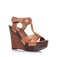 Platform Leather Brown Sandals -  Debenhams