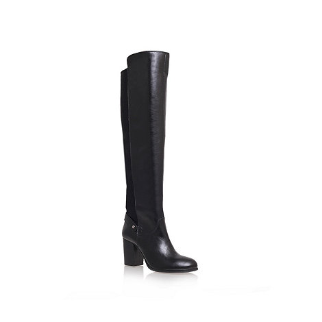 Carvela - Black +wooden+ mid heel knee boots