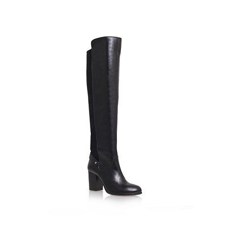 Carvela - Black +Wooden+ mid heel knee boots
