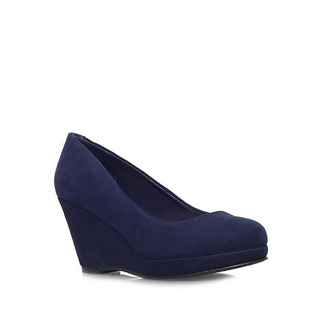 Miss KG - Navy +Candy+ mid heel wedges