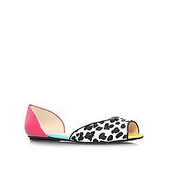 Nine West - Black/White 'Byteme11' flat peep toe shoes