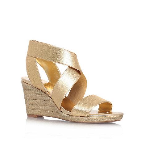 Nine West - Gold +Juna2+ mid heel wedge sandals