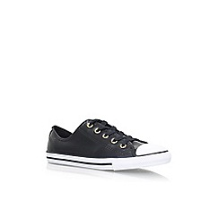 Converse - Black 'Ct dainty lth lw' flat lace up sneakers