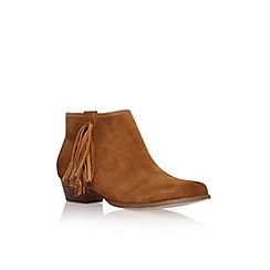 Miss KG - Tan 'Sassy' low heel fringed ankle boot