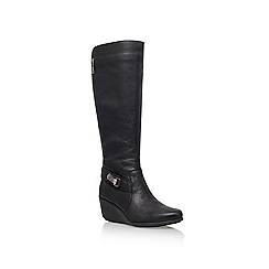 Anne Klein - Black 'Fairgame' Mid wedge heeled knee boot