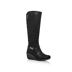 Anne Klein - Black 'Fairgame2' Mid wedge heeled knee high boots