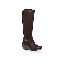 Anne Klein - Brown 'Fairgame2' Mid wedge heeled knee high boots