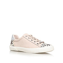 Carvela - Nude 'light' flat printed detail lace up trainer