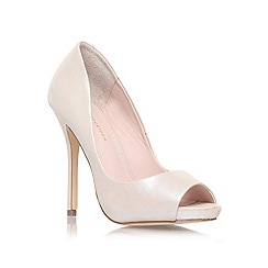 KG Kurt Geiger - Champagne 'DREAMIE' High heeled peep toe court shoe