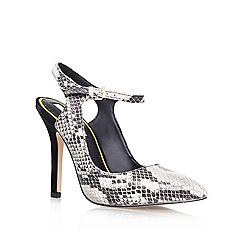 Miss KG - Beige Comb 'ARIEL' High heeled ankle strap print court