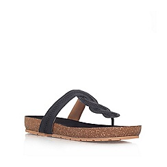 Nine West - Black 'RASPY' Low platform toe post sandal