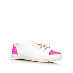 Lipsy - White/ comb 'Laila' flat lace up sneaker
