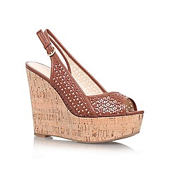 Nine West - Brown 'Axey' high wedge heel peep toe sling back