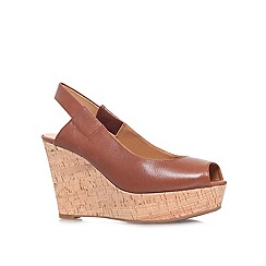 Nine West - Brown 'CANTALOPE' High wedge heeled peep toe court