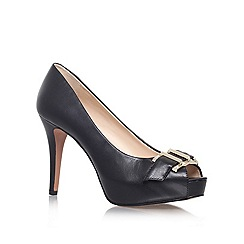 Nine West - Black 'CELESTINE' high heeled buckle detail peep toe court