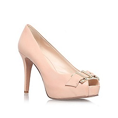 Nine West - Nude 'CELESTINE' high heeled buckle detail peep toe court