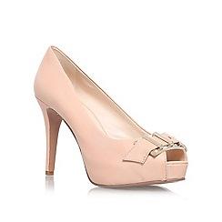 Nine West - Nude 'CELESTINE' high heeled buckle detail peep toe court