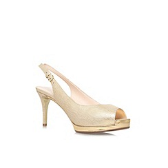 Nine West - Gold 'Cinema' mid heel peep toe slingback shoe