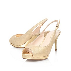 Nine West - Gold 'cinema' high heeled peep toe sling back