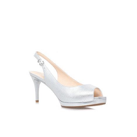 Silver Peep Toe Slingback Heels