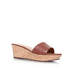 Nine West - Brown 'CONFETTY' low wedge heel slip on sandal