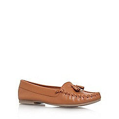 Miss KG - Tan 'Nixon' flat slip on loafer