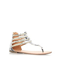 Miss KG - Beige 'Dixie' flat toe post strappy sandal