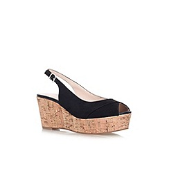 Carvela - Black 'Klixy' mid wedge heel peep toe court shoe