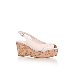 Carvela - Nude 'Klixy' mid wedge heel peep toe court shoe
