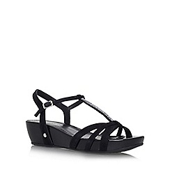 Carvela Comfort - Black 'Solar' low wedge heel strappy sandal